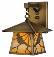 Meyda Tiffany 144650 Stillwater Song Bird Beige Antique Finish 8.25  Wide Outdoor Wall Mounted Lamp