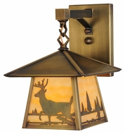 Meyda Tiffany 144652 Stillwater Deer Creek Beige Antique Finish 8.25  Wide Outdoor Wall Lighting Fixture