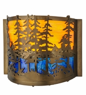 Meyda Tiffany 146953 Tall Pines Antique Copper Finish 9.5  Tall Wall Lamp