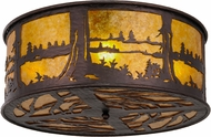 Meyda Tiffany 148400 Quiet Pond Country Mahogany Bronze / Amber Mica Pinebark Ceiling Light Fixture