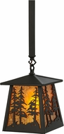 Meyda Tiffany 149025 Tall Pines Wrought Iron / Amber Mica Pendant Lamp
