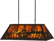 Meyda Tiffany 149321 Tall Pines Wrought Iron / Amber Mica Kitchen Island Light