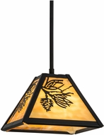 Meyda Tiffany 150163 Winter Pine Country Black / Ba Pendant Light