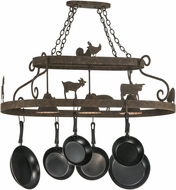 Meyda Tiffany 150295 Barn Animals Rustic Island Lighting Pot Rack