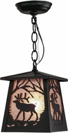 Meyda Tiffany 150871 Elk at Dawn Rustic Black / Silver Mica Ceiling Light Pendant