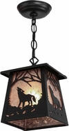 Meyda Tiffany 150873 Wolf at Dawn Rustic Black / Silver Mica Drop Ceiling Light Fixture