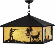 Meyda Tiffany 150874 Quail & Deer Hunter Country Black / Ba Drop Lighting Fixture
