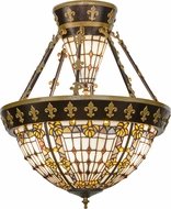 Meyda Tiffany 150922 Fleur-de-lis Tiffany Copper Vein / Nu Gold Ceiling Lighting Fixture