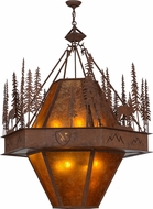 Meyda Tiffany 151317 Moose at Dusk Custom Logo Rustic Rust / Amber Mica Hanging Pendant Lighting