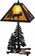 Meyda Tiffany 151431 Lone Moose Country Oil Rubbed Bronze / Ha Table Top Lamp