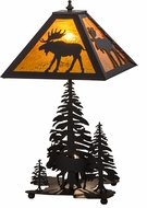 Meyda Tiffany 151467 Moose Through the Trees Country Oil Rubbed Bronze / Ha Table Lamp