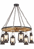 Meyda Tiffany 151906 Miner's Lantern Wagon Wheel Modern Distressed Rust Chandelier Light