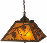 Meyda Tiffany 152029 Whispering Pines Rustic Antique Copper / Amber Mica Drop Ceiling Light Fixture