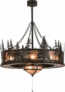 Meyda Tiffany 152312 Elk through the Trees Rustic Oil Rubbed Bronze / Silver Mica Home Ceiling Fan