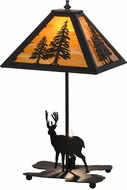 Meyda Tiffany 153127 Lone Deer Rustic Oil Rubbed Bronze / Ha Table Lamp Lighting