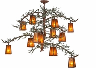 Meyda Tiffany 153180 Pine Branch Valley View Country Rust / Amber Mica / Green Branches Hanging Chandelier