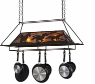 Meyda Tiffany 153181 Wild Horses Rustic Oil Rubbed Bronze / Amber Mica Island Lighting Pot Rack