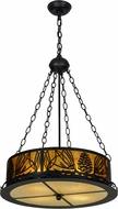 Meyda Tiffany 153800 Mountain Pine Rustic Black / Amber Mica Beige Ceiling Pendant Light