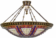 Meyda Tiffany 154145 Fleur-de-lis Tiffany Beige Ha Green / Blue Amber Overhead Lighting