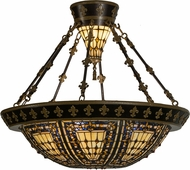 Meyda Tiffany 154254 Fleur-de-lis Tiffany Beige Ha Green / Blue Amber Home Ceiling Lighting