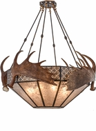 Meyda Tiffany 154279 Antlers Moose Rustic Burnished A/C / Silver Mica Pendant Light Fixture