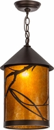 Meyda Tiffany 154446 Branches Country Mahogany Bronze / Amber Mica Mini Ceiling Light Pendant
