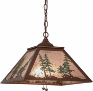 Meyda Tiffany 154496 Tall Pines Rustic Rust / Silver Mica / Green Trees Drop Lighting Fixture
