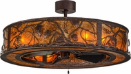 Meyda Tiffany 154832 Whispering Pines Rustic Mahogany Bronze / Amber Mica Home Ceiling Fan
