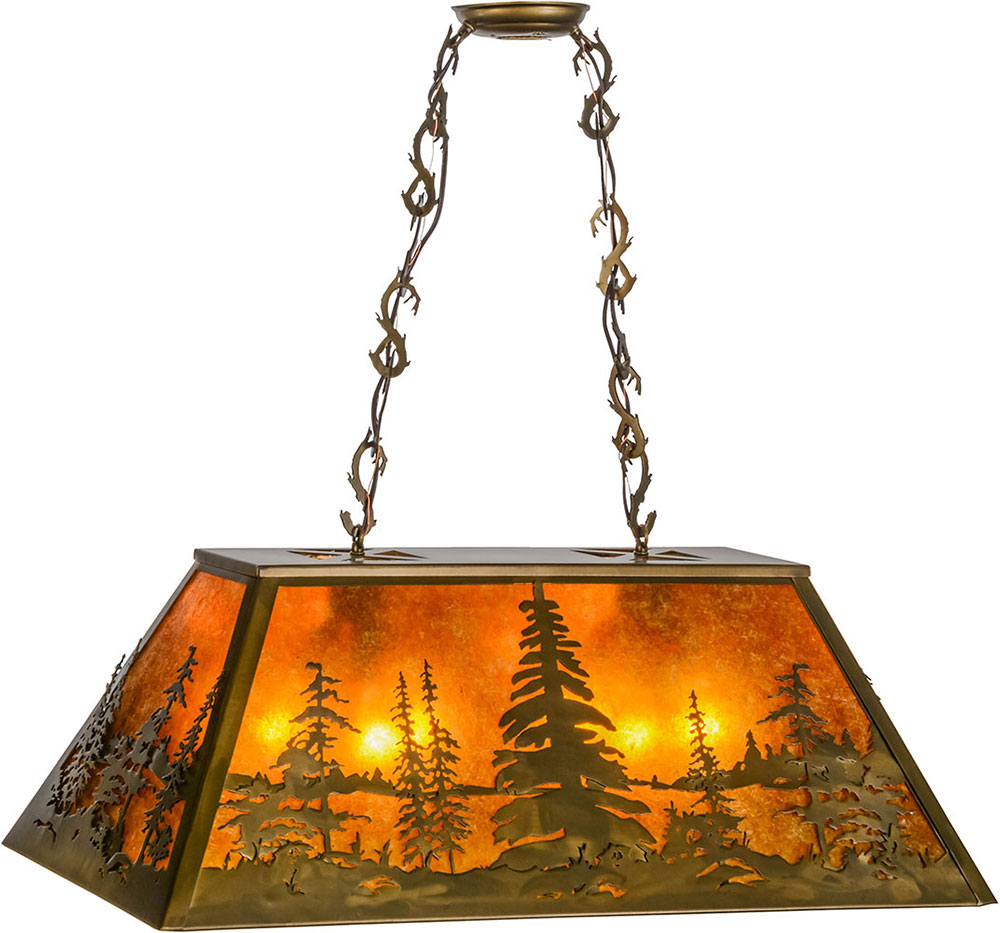 Kitchen Island Lighting Rustic: Meyda Tiffany 154998 Tall Pines Rustic Antique Copper