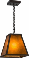 Meyda Tiffany 156357 Mission Prime Wrought Iron / Amber Mica Ceiling Light Pendant