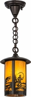 Meyda Tiffany 156666 Fulton Fly Fisherman Rustic Ha Craftsman Mini Hanging Lamp