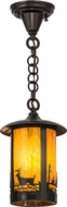 Meyda Tiffany 156669 Fulton Deer at Lake Rustic Ha Craftsman Mini Pendant Light Fixture