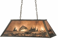 Meyda Tiffany 15680 Leaping Trout Country Steel / Silver Mica Kitchen Island Light