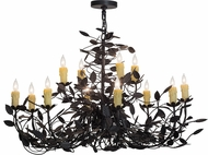 Meyda Tiffany 157544 Pear Leaf Rustic Black Hanging Chandelier