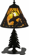 Meyda Tiffany 158357 Ruffed Grouse Rustic Amber Mica / Black Accent Lamp