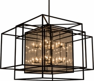 Meyda Tiffany 158474 Kitzi Box Modern Black / Clear Water Glass Chandelier Lamp