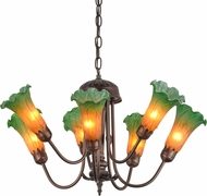 Meyda Tiffany 160614 Amber/Green Pond Lily Modern Mini Lighting Chandelier