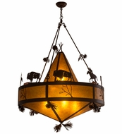 Meyda Tiffany 161410 Buffalo Warrior with Teepee Rust/Amber Mica Hanging Pendant Light