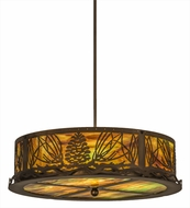 Meyda Tiffany 162106 Mountain Pine Antique Copper Drum Drop Ceiling Lighting