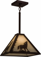 Meyda Tiffany 162113 Lone Wolf Country Oil Rubbed Bronze / Ca Pendant Lamp