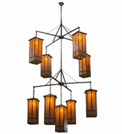 Meyda Tiffany 162412 Church Street Craftsman Amber Mica Brown Chandelier Light