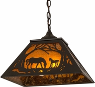 Meyda Tiffany 162726 Mare & Foal at Dawn Rustic Timeless Bronze / Amber Mica Pendant Lighting