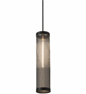 Meyda Tiffany 162937 Cilindro Cage Old Wrought Iron / Black Mini Pendant Lamp
