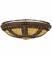 Meyda Tiffany 163008 Fleur-de-lis Tiffany Beige Green/Blue Amber Ceiling Lighting