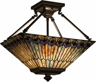 Meyda Tiffany 163377 Tiffany Jeweled Peacock Tiffany Green / Blue Purple / Blue Purple / Blue Purp Ceiling Light Fixture