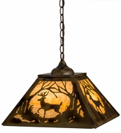Meyda Tiffany 164000 Deer at Dawn Burnished Brass Tint Beige Glass Pendant Hanging Light
