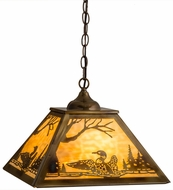 Meyda Tiffany 164313 Loon Burnished Brass Tint Beige Glass Drop Lighting Fixture