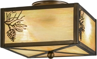 Meyda Tiffany 16497 Balsam Pine Rustic Antique Copper / Bai Flush Lighting