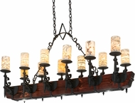 Meyda Tiffany 167878 Tudor Jadestone Wrought Iron / Wood Body LED Kitchen Island Light