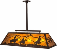 Meyda Tiffany 171097 Personalized Ranch Rustic Mahogany Bronze / Amber Mica Kitchen Island Light Fixture